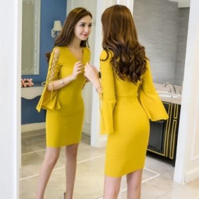 新型 ワンピース 修身 セクシー ドレス  水商売  セレブな  ベアトップ  一字肩 ワンピースsmd791