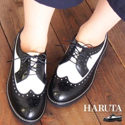HARUTA ハルタ ウイングチップシューズ SF379 黒/白 レディース