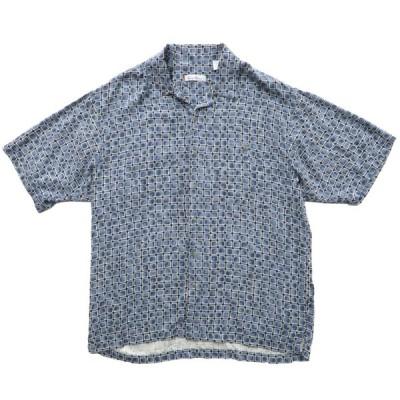開襟 ボックスシャツ シルク 総柄 半袖 サイズ表記:L