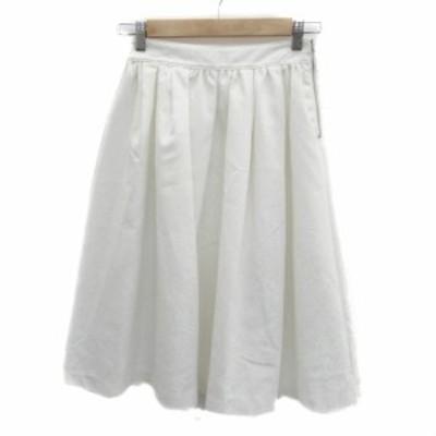【中古】ローズバッド ROSE BUD スカート フレア ミモレ丈 花柄 1 白 ホワイト /HO16 レディース