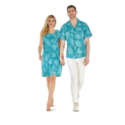 メンズ 衣類 トップス Couple Matching Hawaiian Luau Outfit Aloha Shirt Tank Dress in Aqua Leaf Floral Men M Women L ブラウス&シャツ