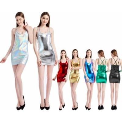 二枚送料無料レディース ドレス タイトドレス レザー スリム 細身ドレス ストレッチ キャミソール PUドレス ダンス衣装  DS セクシー演出