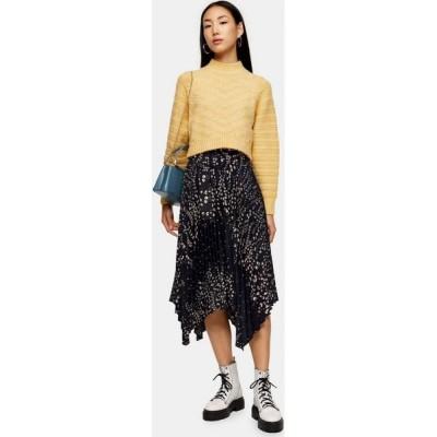 トップショップ Topshop レディース ひざ丈スカート スカート Black Floral Belted Pleated Midi Skirt BLACK
