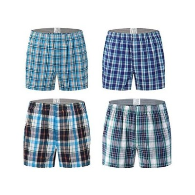 Aliux トランクス メンズ 綿100% 4枚 セット チェック柄 パンツ ショーツ メンズ 下着 肌着 ボタン付き 前開き