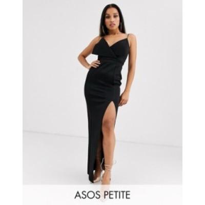 エイソス レディース ワンピース トップス ASOS DESIGN Petite fold front scuba thigh split maxi dress Black