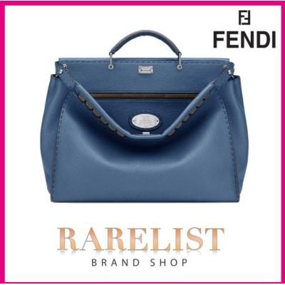 フェンディ FENDI バッグ バック ショルダーバッグ ハンドバッグ ビジネスバッグ 2WAY 新作 ブルー シルバー レザー 本革 ロゴ