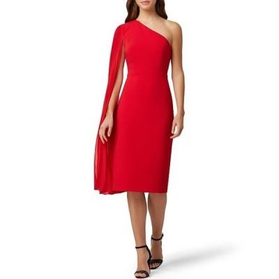 タハリエーエスエル  レディース ワンピース トップス Pleated Chiffon One Shoulder Crepe Sheath Dress