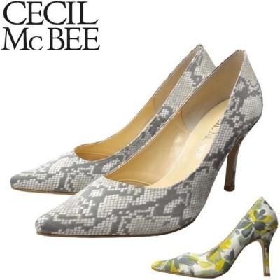 CECIL Mc BEE CEFE 04100 セシルマクビー レディース パンプス 美脚 脚長 ピンヒール 痛くない クッション ヘビ ポインテッド 日本製 2020春
