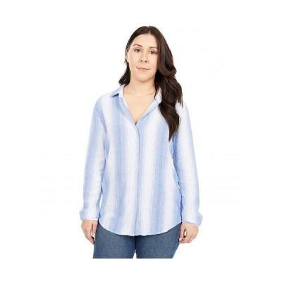 bella dahl レディース 女性用 ファッション ボタンシャツ Classic Button Down Shirt in Tencel - Serene Sea Stripe