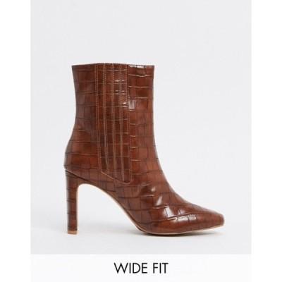 エイソス レディース ブーツ・レインブーツ シューズ ASOS DESIGN Wide Fit Embark high ankle boots in brown croc