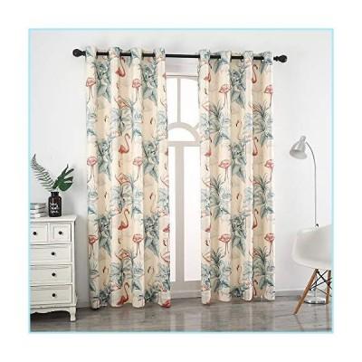新品Autumn Dream Leaves Flamingo White Blackout Curtains, Grommet Top Microfiber Pastoral Floral Curtains Drapes for Living Room,Farmhouse