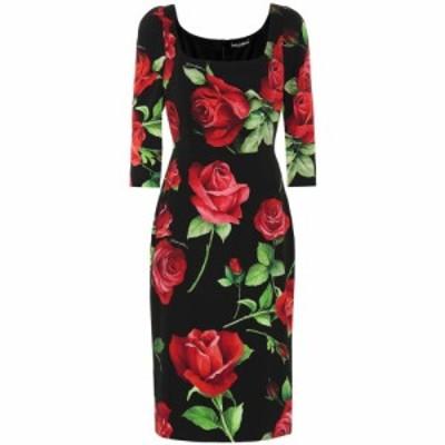 ドルチェandガッバーナ Dolce and Gabbana レディース ワンピース ワンピース・ドレス Floral stretch-silk crepe dress Rose Fdo Nero