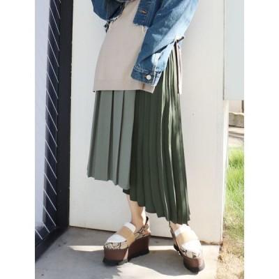 スカート コントラストプリーツスカート