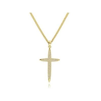 18K Gold Cross Pendant Necklace for Women Dainty Cubic Ziconia Cross Neckla並行輸入