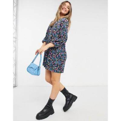 エイソス ミディドレス レディース ASOS DESIGN plisse smock mini dress in black based floral print エイソス ASOS マルチカラー