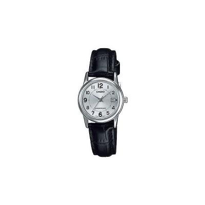 腕時計 カシオ Casio レディース ブラック レザー ストラップ 腕時計 シルバー ダイヤル デイト LTP-V002L-7B