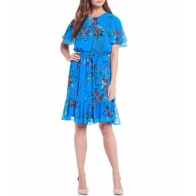 カルバンクライン レディース ワンピース トップス Floral Vine Print Chiffon Flutter Short Sleeve Tie Waist Flounce Hem Dress Grott