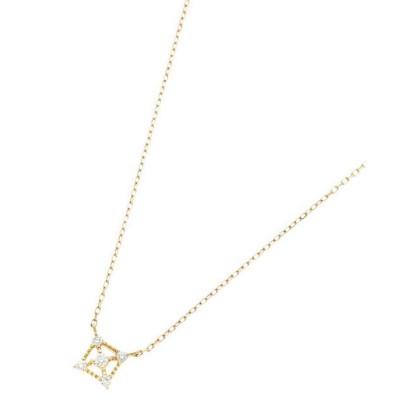 <COCOSHNIK(Women)/ココシュニック> K18ダイヤモンド 透かしフチミル スクエアネックレス シロ104【三越伊勢丹/公式】