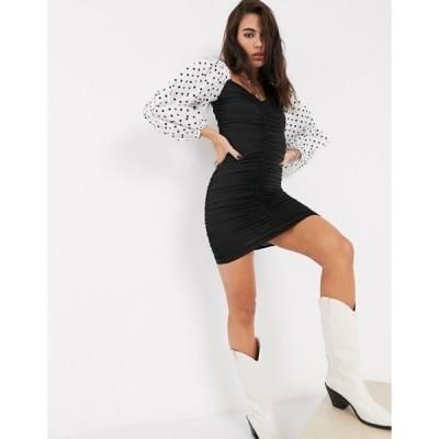 ベルシュカ レディース ワンピース トップス Bershka ruched mini dress with polka dot puff sleeves in black