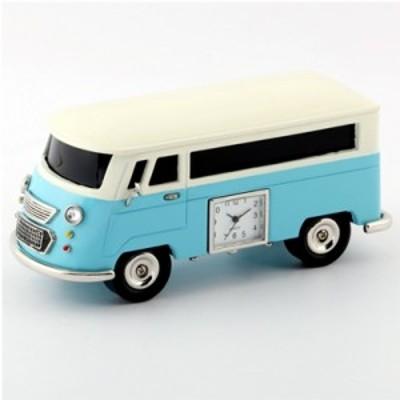 ミニチュアクロック【Miniature clock collection】 置時計 バス 水色 MC-BT3159-LBL★【スピーカー機能付】
