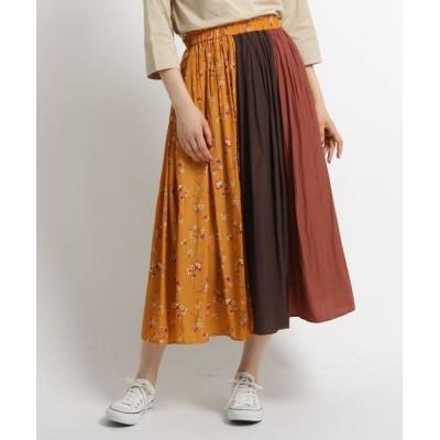 Dessin/デッサン 【洗える Sサイズあり】ダークフラワープリントブロッキングスカート ダークオレンジ(568) 01(S)