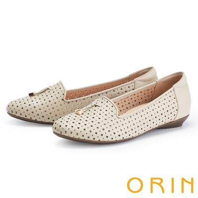ORIN 造型簍空真皮樂福 女 平底鞋 裸色