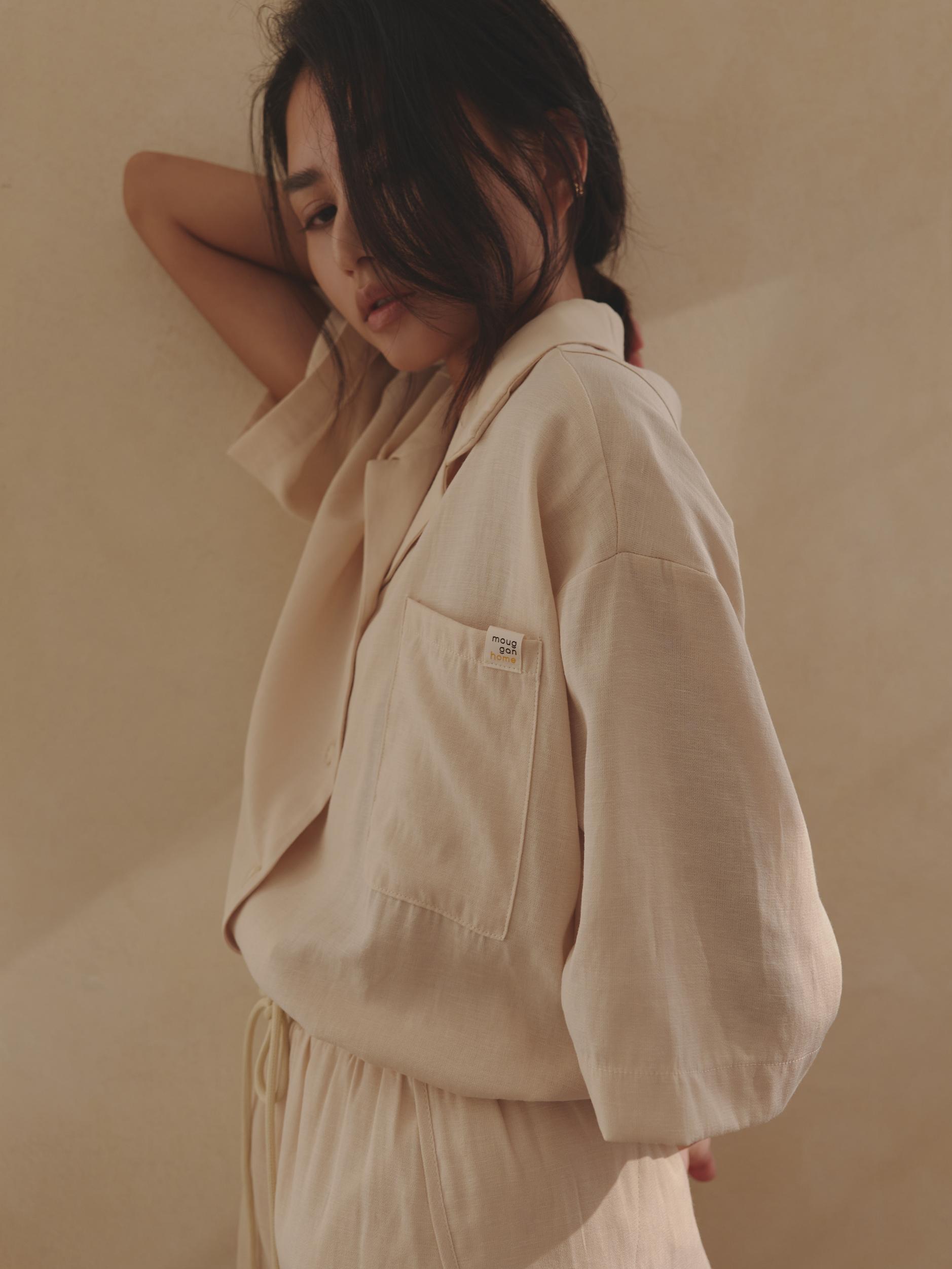 棉麻短袖襯衫 - mouggan home-mouggan