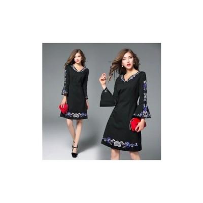 パーティードレス ひざ丈 スカート 刺繍 Vネック レディース ワンピース 結婚式 二次会 お呼ばれドレス kh-0238