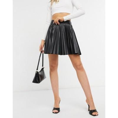 エイソス ASOS DESIGN レディース スカート Leather Look Kilt In Black ブラック