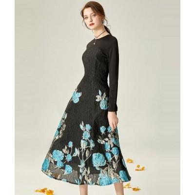 パーティードレス 高品質 レディース ロングドレス お呼ばれ 二次会 結婚式 aラインワンピース 長袖 大きいサイズ フォーマル 花柄 ミモレ丈ワンピース