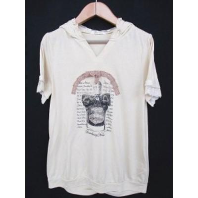 【中古】アクシーズファム axes femme Tシャツ カットソー 半袖 フード付 装飾 プリント レース ベージュ M