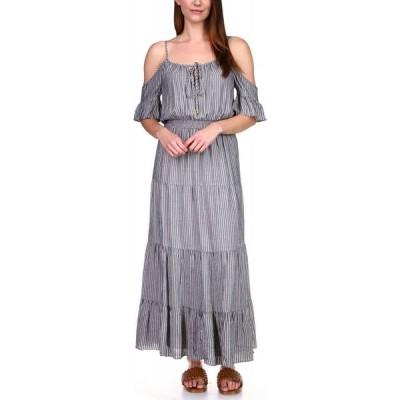 マイケル コース Michael Kors レディース ワンピース マキシ丈 Shine Striped Off-The-Shoulder Maxi Dress, Regular & Petite Midnight Blue