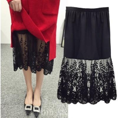 インナーレディーススカートペチコートペチスカートシフォンウエストゴム刺繍大きいサイズ