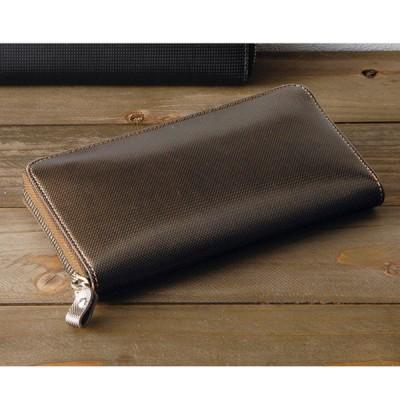 アッシュエルラウンドファスナー長サイフブラウン S-HLE14354BRN 財布・小物