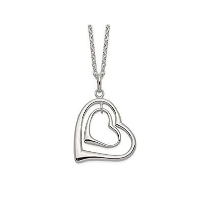 925 Sterling Silver Double Heart Chain Necklace Pendant Charm Love Fine Jew