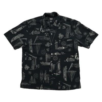 開襟 半袖シャツ ボックスシャツ 総柄 ヘリンボーンツイル サイズ表記:M