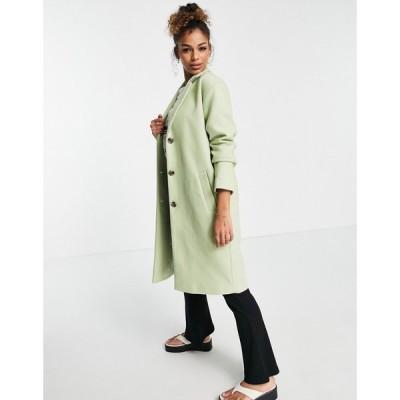 ピーシーズ Pieces レディース コート アウター Alice Wool Blend Coat Sage Green セラドングリーン