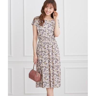 カットソー素材で快適♪花柄プリントフレアワンピース (ワンピース)Dress