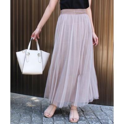 スカート 〈2020AW〉ドットプリントチュールプリーツスカート M/L