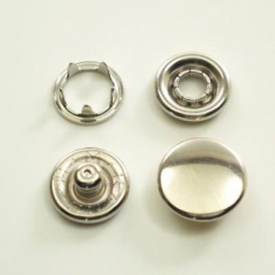 【カネエム製】 アメリカンホック 金属スナップボタン キャップ4パーツセット 12mm シルバー 【30set】