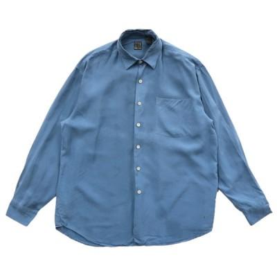 シルク 長袖シャツ サックスブルー サイズ表記:L