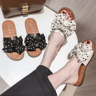 レディース ミュール スリッパ ビーチサンダル カジュアル リボン ローヒール コンフォート 女子靴