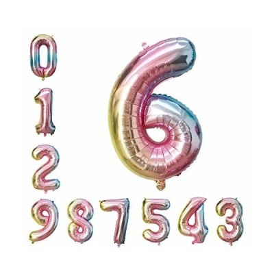 誕生日 飾り 風船 セット 16インチ 虹 数字 0-9 バルーン バースデー パーティー 飾り付け の風船の数字 ピンク