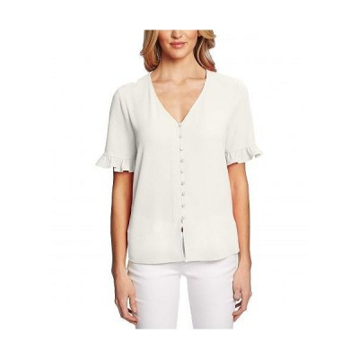 CeCe レディース 女性用 ファッション ブラウス 3/4 Sleeve Ruffled Button Down Blouse - Soft Ecru