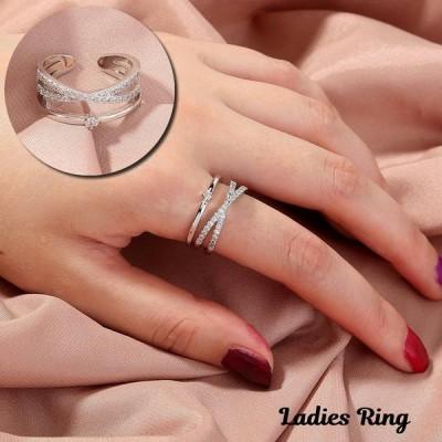 指輪 リング 重ね付け風デザイン レディース 女性用 オープンリング ラインストーン クロス おしゃれ 華やか 上品 かわいい プレゼント ギフト 誕