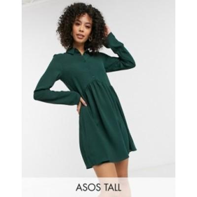 エイソス レディース ワンピース トップス ASOS DESIGN Tall smock mini shirt dress in forest green Forest green