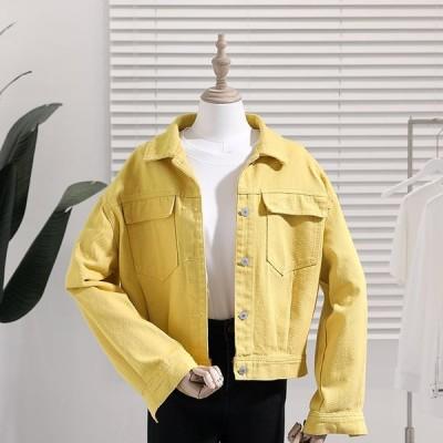 (良い品質)2020春秋の新型韓国版のゆったりとした黄色の洋風の短いデニムの外套の女子学生の港の風の復古する上着は湿っています