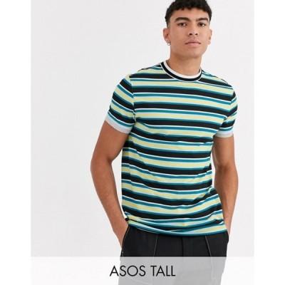 エイソス メンズ Tシャツ トップス ASOS DESIGN Tall organic cotton stripe t-shirt with tipped neck and roll sleeve