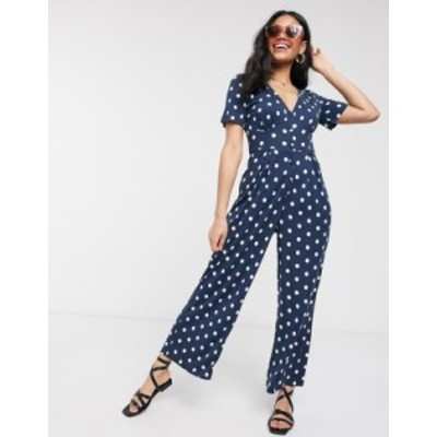 エイソス レディース ワンピース トップス ASOS DESIGN tea jersey jumpsuit with short sleeves in polka dot Navy spot
