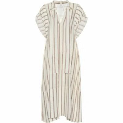 クロエ Chloe レディース ワンピース ワンピース・ドレス Striped silk crepe dress Beige/Brown